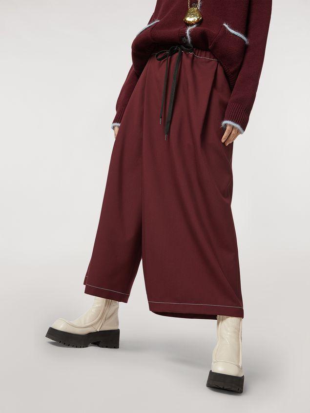 Marni Criss-cross tropical wool trousers burgundy Woman - 5