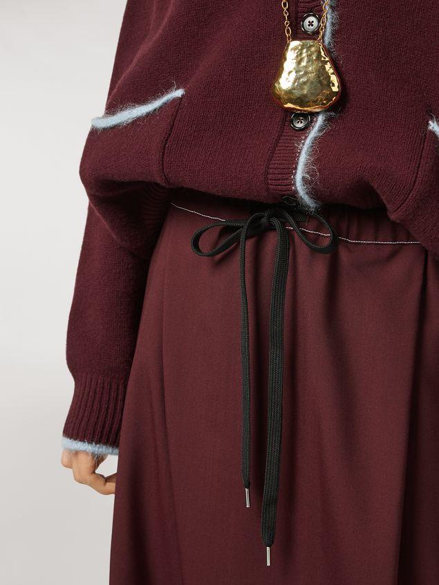 Marni Criss-cross tropical wool trousers burgundy Woman - 4