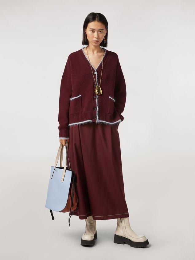 Marni Criss-cross tropical wool trousers burgundy Woman - 1