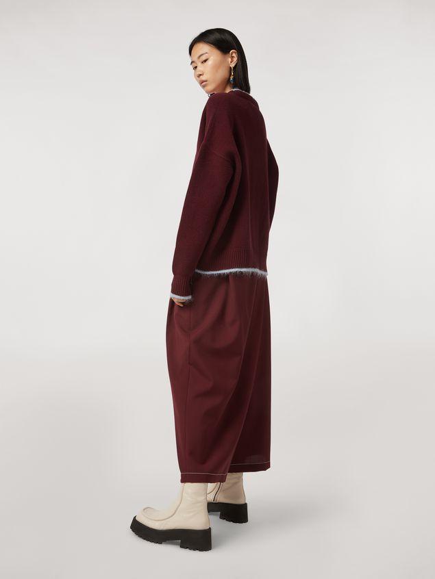 Marni Criss-cross tropical wool trousers burgundy Woman - 3