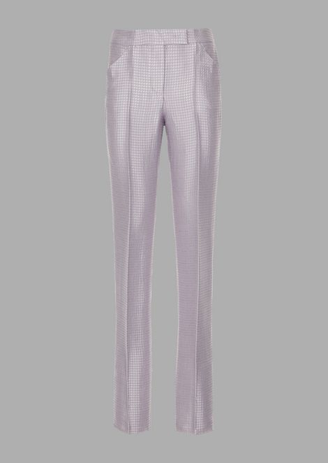 Cigarette trousers in houndstooth jacquard fabric