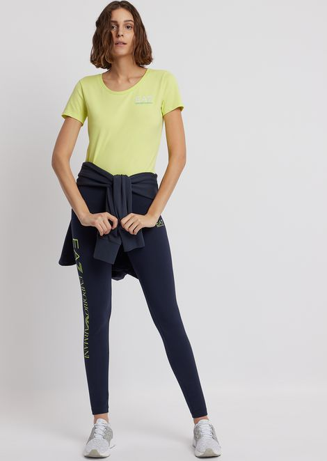 Leggings in stretch cotton with printed EA7 logo