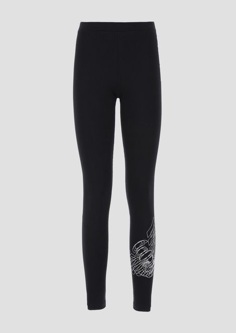 Leggings in stretch fabric with 3D-effect print