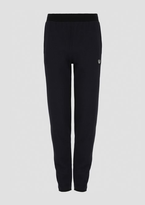 Jogging pants in cotton fleece with logo shield
