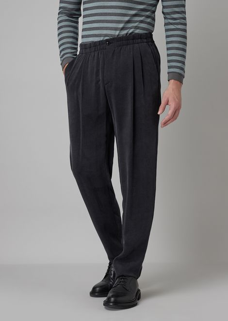 Pleated trousers in washed, striped basket weave linen blend
