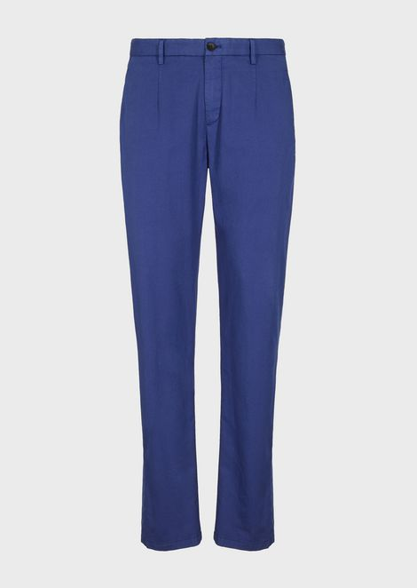 Trousers in garment-dyed stretch cotton natté