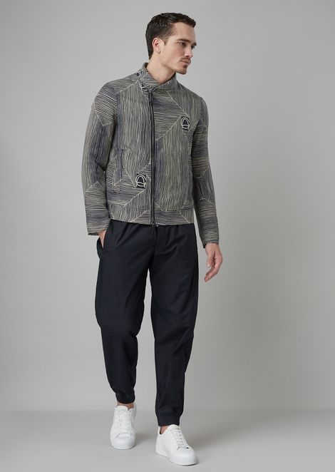 Oversized trousers in jacquard with a ribbed seersucker motif
