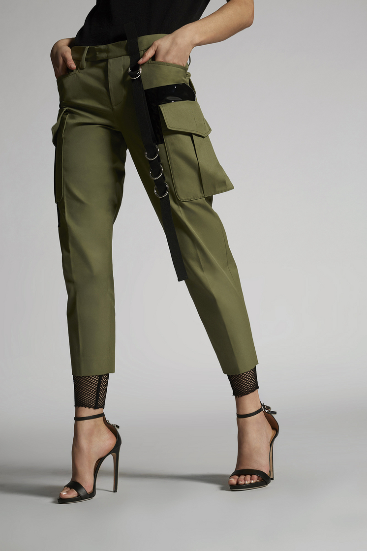 DSQUARED2 Cotton Twill Military Lace Hockney Pants Trousers Woman