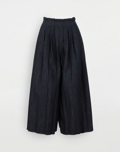 PANTS Pleated denim trousers Blue