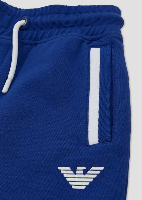 Jersey fleece jogging trousers with logo print
