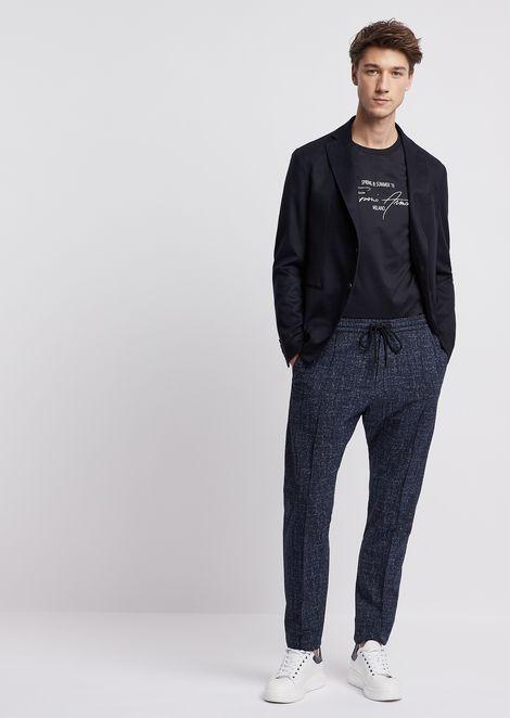 Jogging pants in tweed-print seersucker