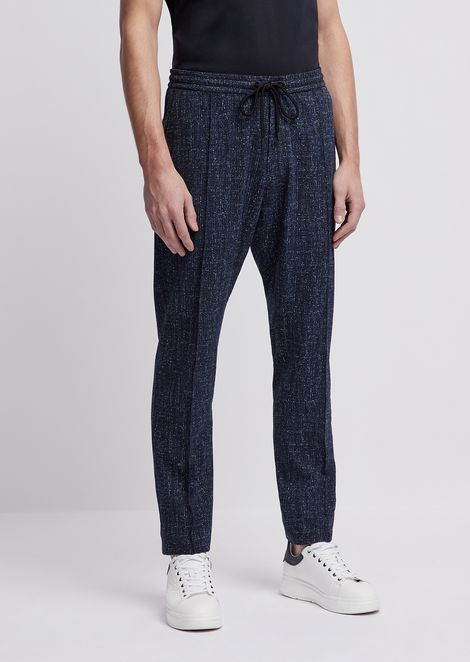 Jogging pants in tweed-print seersucker