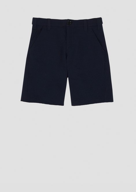 Checked Bermuda shorts with side adjustment straps