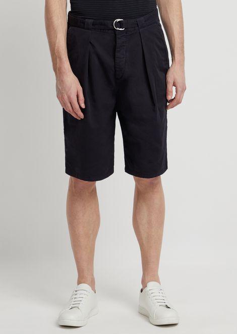 Bermudas de algodón elástico teñido en prenda