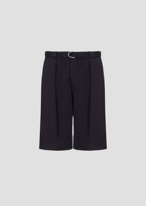 Garment-dyed stretch cotton Bermuda shorts