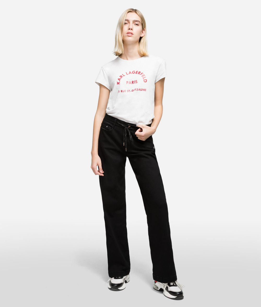 KARL LAGERFELD Sporty Logo Denim Pants Woman f