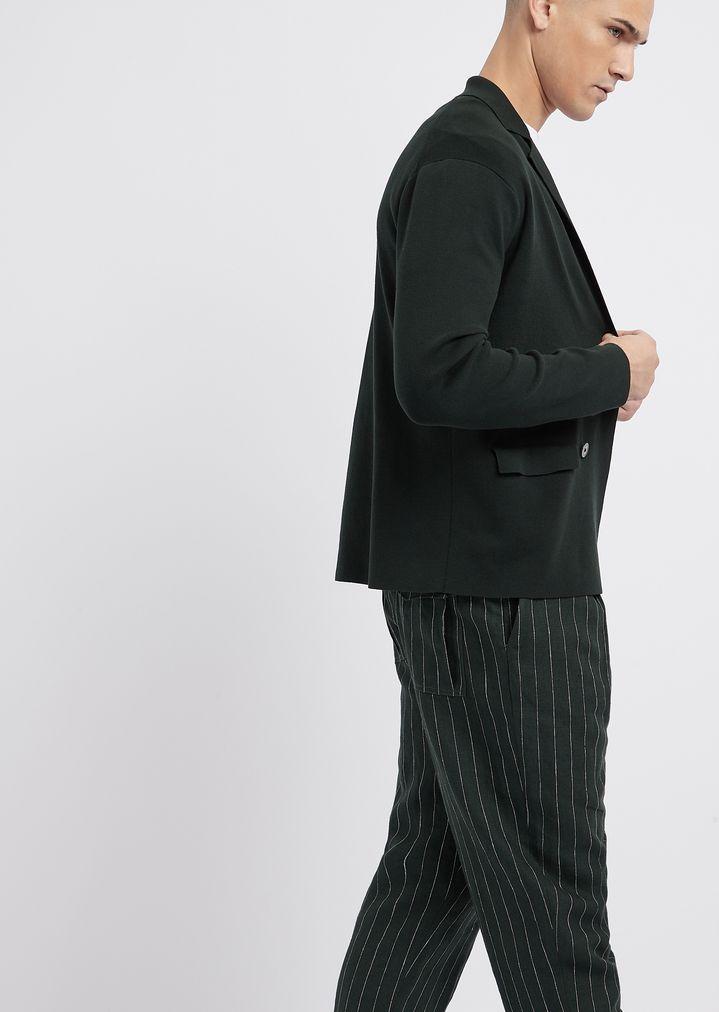 ffe10168abd9 Pantaloni in lino gessato con coulisse in vita | Uomo | Emporio Armani