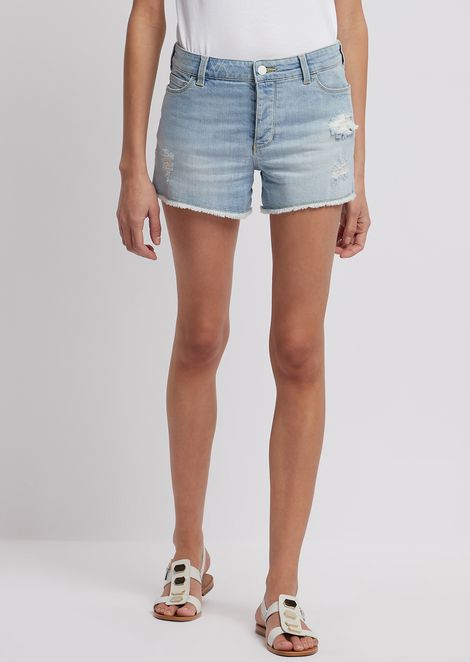 Ripped shorts in stone-washed denim