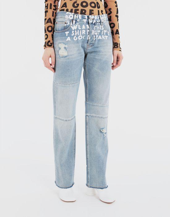 MM6 MAISON MARGIELA Charity AIDS-print denim pants Jeans [*** pickupInStoreShipping_info ***] r