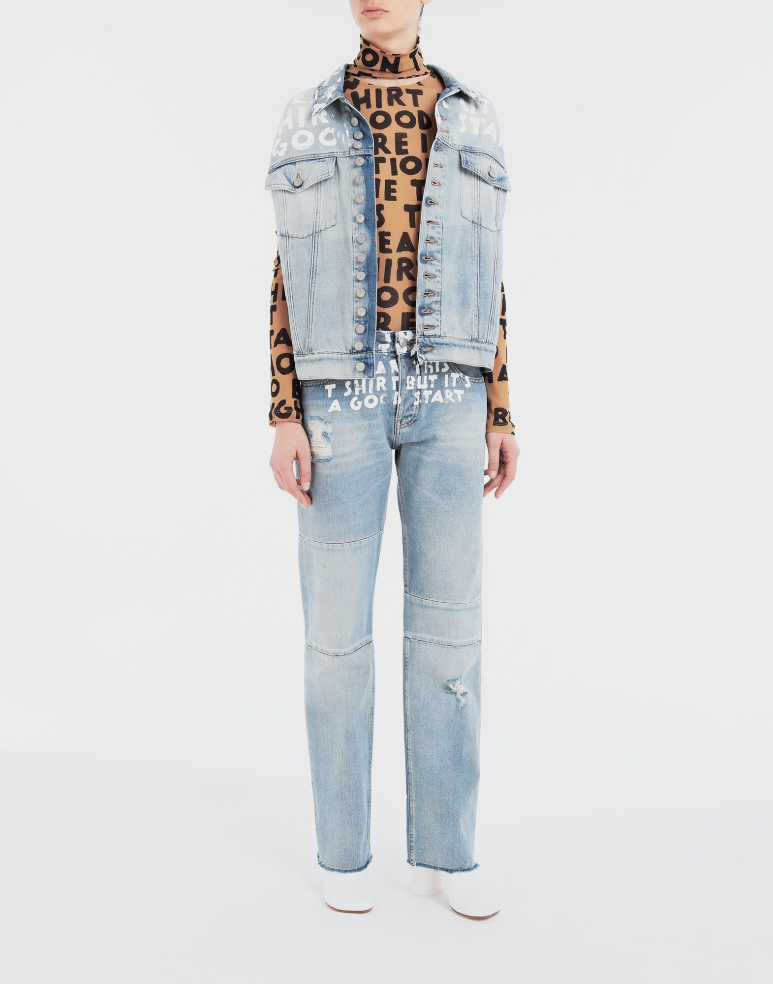 MM6 MAISON MARGIELA Charity AIDS-print denim pants Jeans Woman d