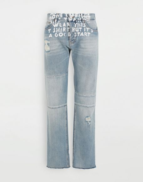 MM6 MAISON MARGIELA Charity AIDS-print denim pants Jeans Woman f