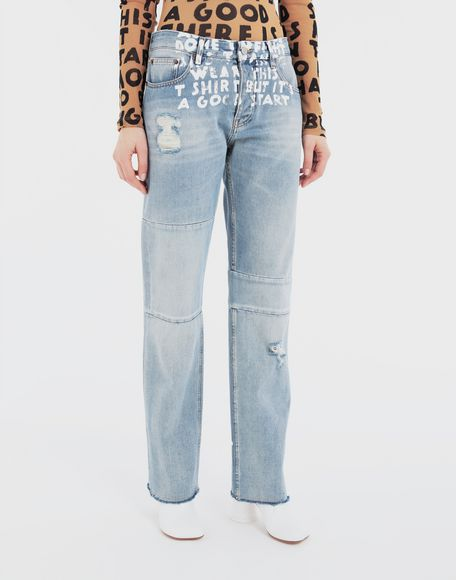 MM6 MAISON MARGIELA Charity AIDS-print denim pants Jeans Woman r