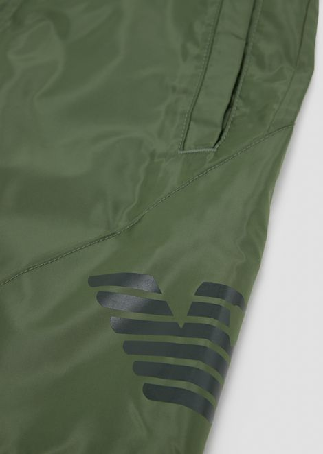 Tech fabric Bermuda shorts with maxi-logo
