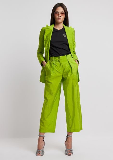 Cropped trousers with darts in washed taffeta