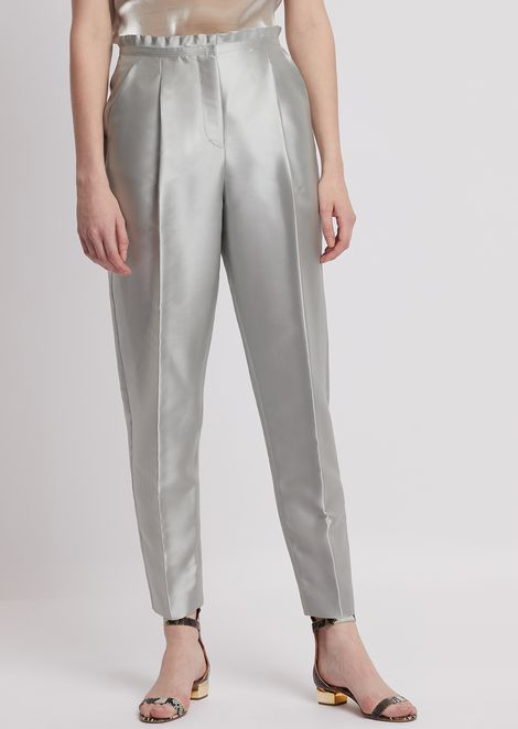 Cigarette trousers in tech batavia twill with ruches at the waist