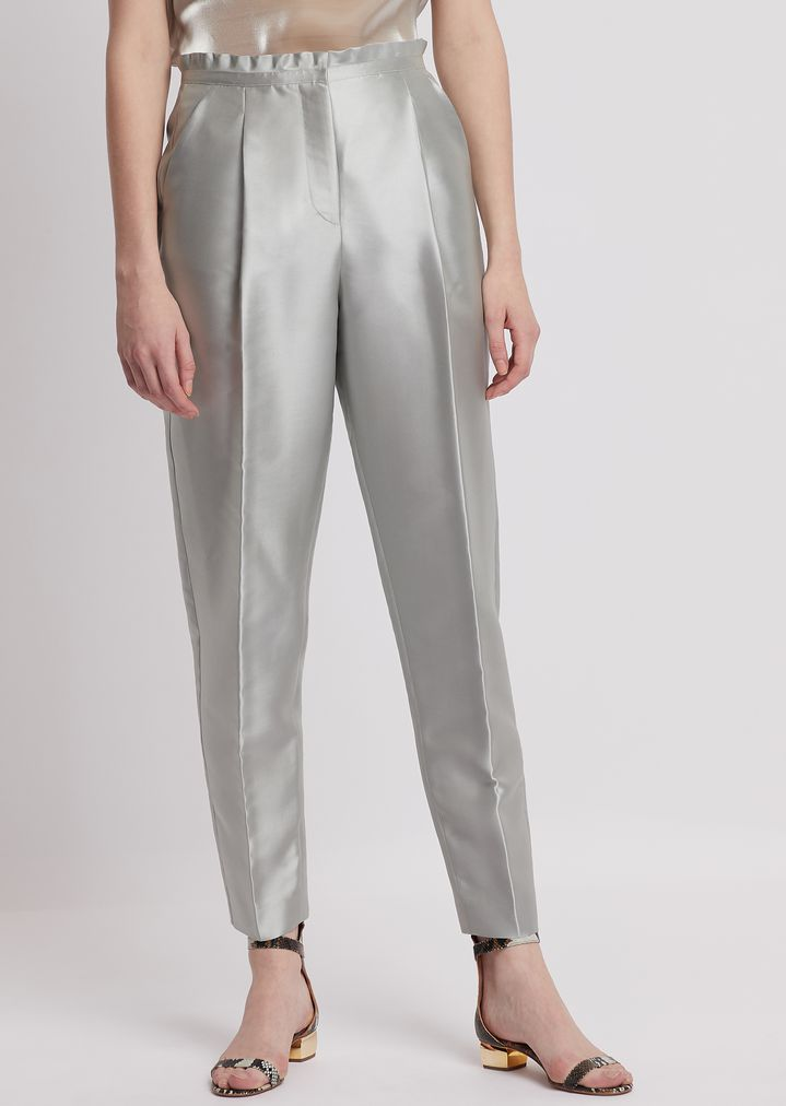 dce70d10a6 Cigarette trousers in tech batavia twill with ruches at the waist