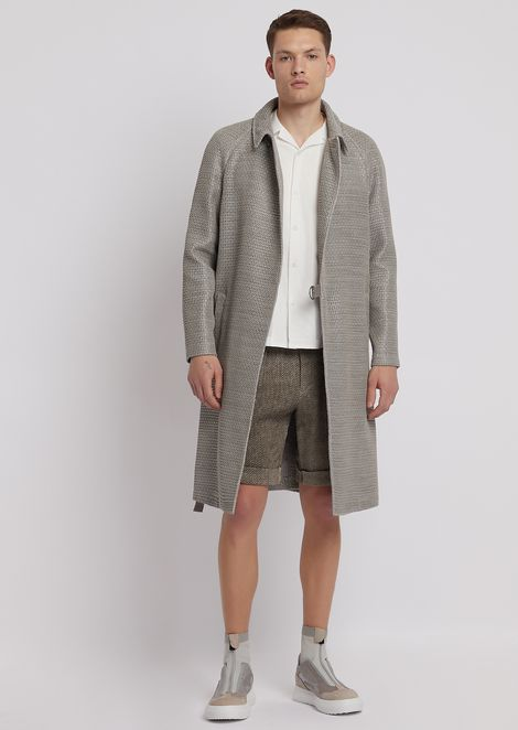 Bermuda shorts in herringbone-weave linen and cotton