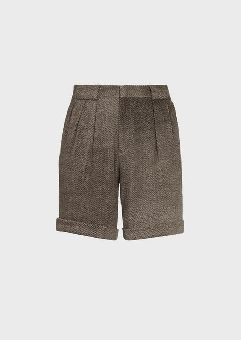 Bermuda shorts in herringbone-weave linen and cotton