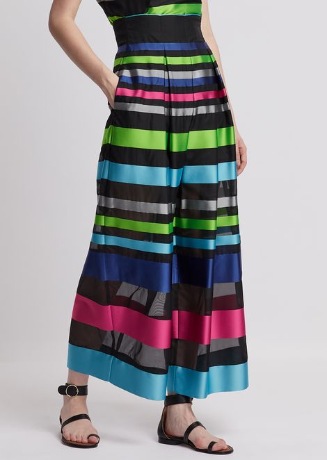 Oversized, high-waisted trousers made from colourfully striped jacquard fabric