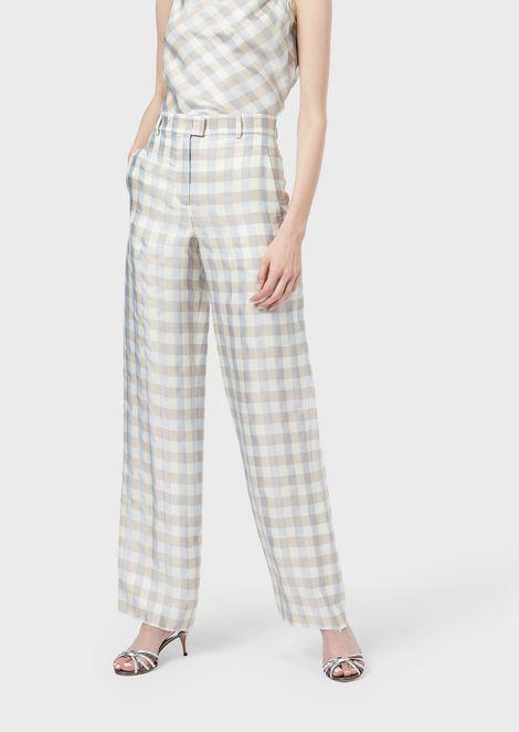 Pantaloni a palazzo in saglia quadrettata