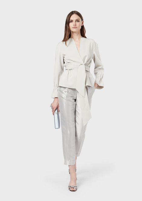 Trousers with darts in sablé lurex