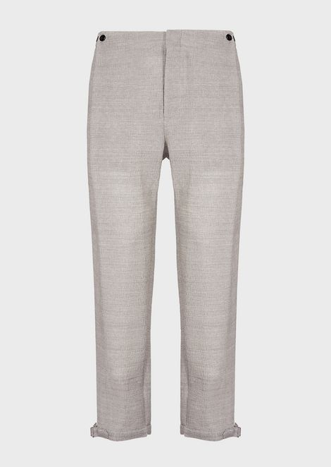 Seersucker trousers with front panel effect