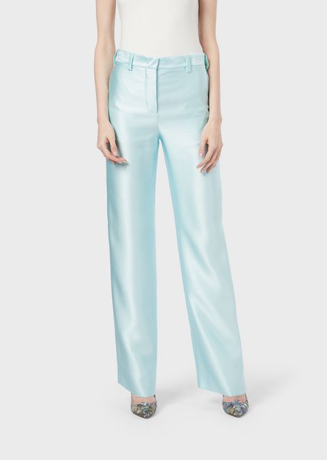 Cigarette trousers in silk ottoman