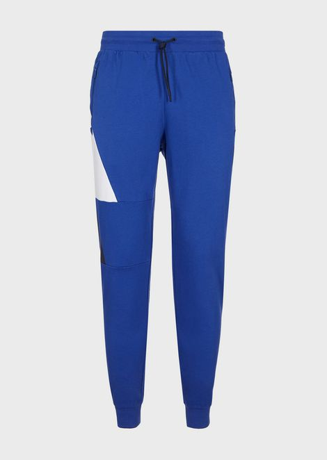 Cotton jogging trousers with contrast logo