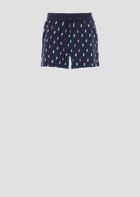 Shorts con motivo allover in tessuto stretch