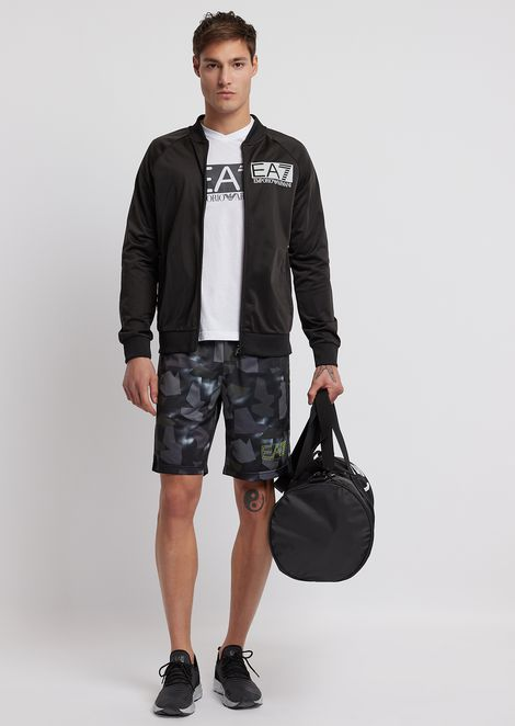 Technical fabric Bermuda shorts with camouflage motif