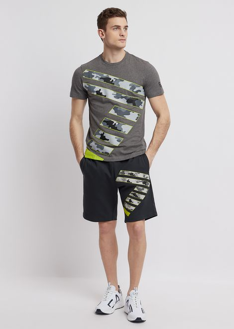 Train Graphic shorts in cotton baby French terry with logo