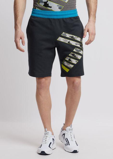 Pantalones cortos Train Graphic de algodón de felpa bebé con logotipo