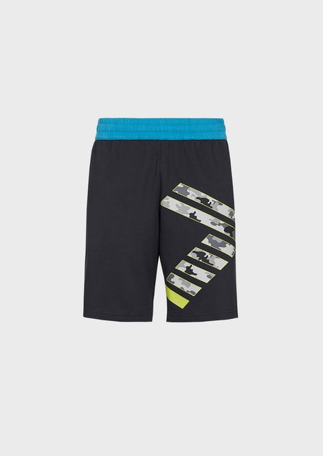 Shorts Train Graphic in cotone baby french terry con logo