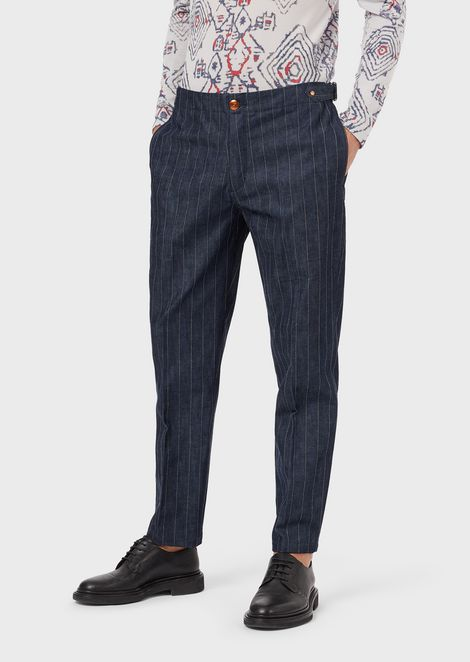 Pantaloni in denim 10.7 oz gessato