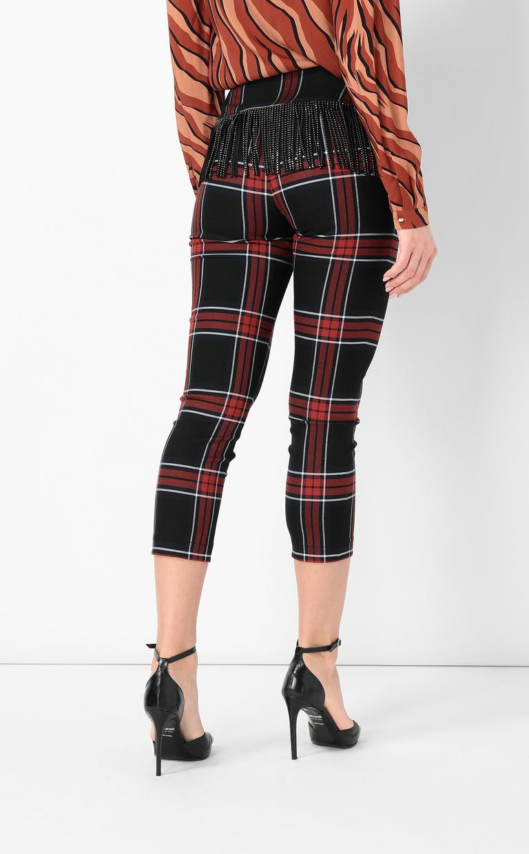 JUST CAVALLI Tartan trousers with fringing Casual pants Woman a