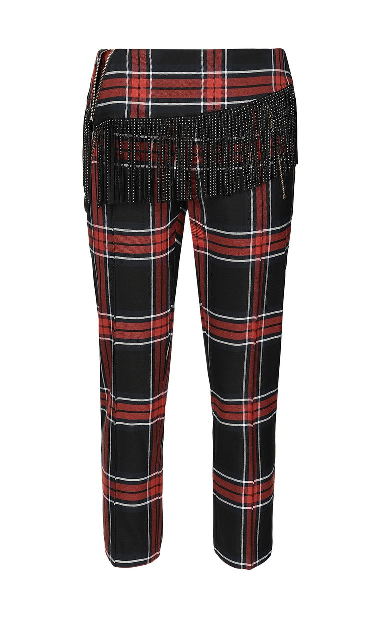 JUST CAVALLI Tartan trousers with fringing Casual pants Woman f