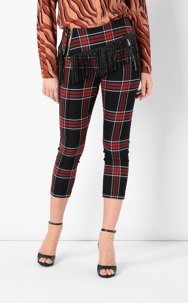JUST CAVALLI Tartan trousers with fringing Casual pants Woman r