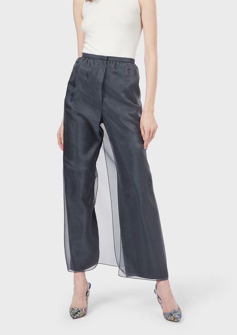 Trousers with overlapping organza panels