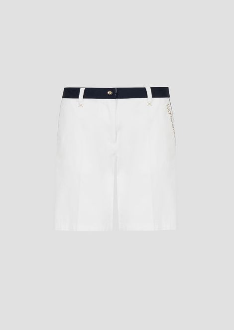 Bermuda shorts in cotton gabardine with contrast profile