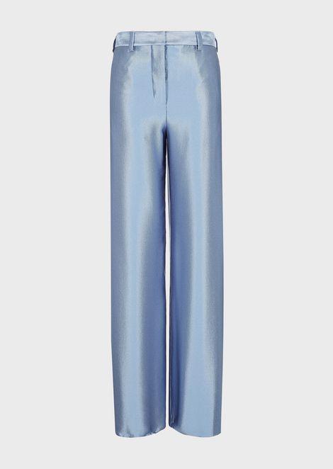 Cigarette trousers in silk ottoman